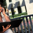 Young Businesswoman Working Outdoors — Stock Video #21483915