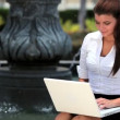 Young Businesswoman Working Outdoors — Stock Video