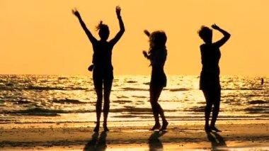 Girls Fun on the Beach — Stock Video