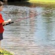 Young Boy Fishing — Stock Video