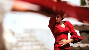 Dramatic Spanish Flamenco Dancing — Stock Video