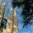 Stock Video: Spires of SagradFamiliChurch