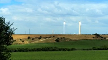 Solar Towers in Countryside — Stock Video