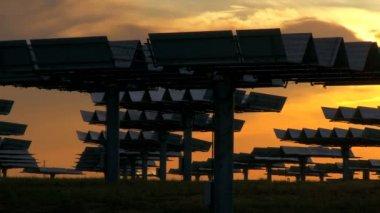 Sunrise over Solar Energy Plant — Stock Video