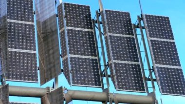 Close-up Photovoltaic Solar Energy Panels — Stock Video