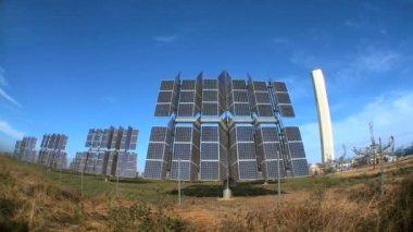 Fish-eye Photovoltaic Solar Energy Panels — Stock Video