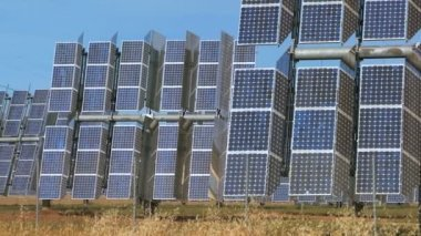 Rows of Power Pant Solar Energy Panels — Stock Video