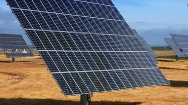 Close-up Solar Energy Production in Countryside — Stock Video