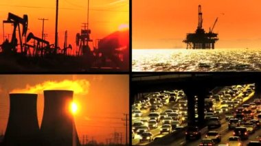 Sunset Montage of Environmental Contrasts — Stock Video