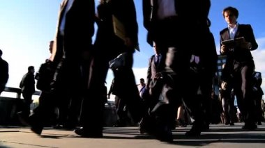 London City Commuters in Slow Motion — Stock Video