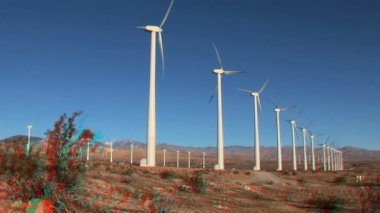 Desert Wind Farm in Stereoscopic 3D — Stock Video