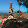 Tranquil Rock Garden in Stereoscopic 3D - Stock Photo
