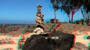 Tranquil Rock Garden in Stereoscopic 3D — Stock Video