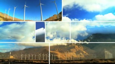 Montage of Clean Wind Turbine Energy — Stock Video