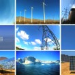 Montage of Clean Energy & Fossil Pollution - Stock Photo