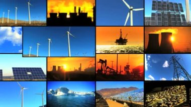Montage of Clean Energy & Fossil Fuel Pollution — Stock Video