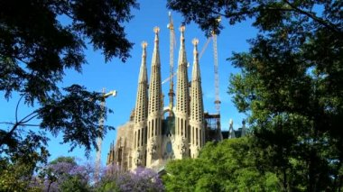 Beautiful building of  Sagrada Familia church, Barcelona, Spain