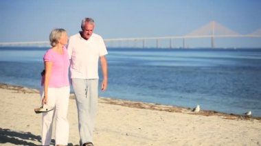 Contented Seniors Walking the Beach — Stock Video