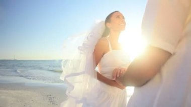 Romantik sahil düğün — Stok video
