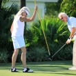 Senior Couple Sinking the Putt — Stock Video