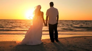 Beach Wedding at Sunset — Video Stock