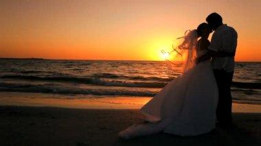 Sunset Wedding Kiss — Stock Video