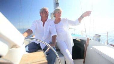 Mature Couple on Luxury Yacht — Stock Video