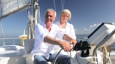 Contented Sailing Seniors — Stock Video