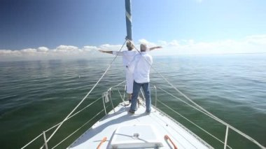 Seniors Fun on Board a Yacht — Stock Video
