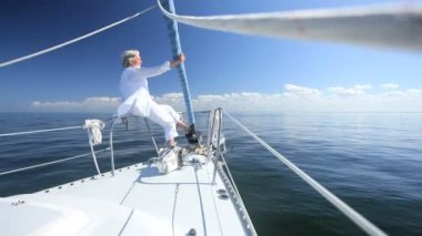 Retired Lady on Board a Yacht — Stock Video
