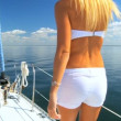 Beautiful Blonde on Luxury Yacht - Stock Photo