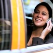 Female in Taxi with Cell Phone — Stock Video #21875941