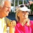 Stock Video: Contented Senior Couple in Close-up