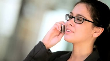 Businesswoman With Cell Phone in Close-up — Stock Video
