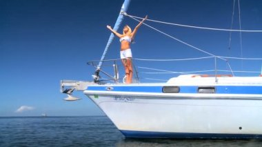 Luxury Yacht Girl — Stock Video