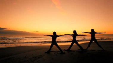 Yoga Exercises at Sunrise — Stock Video