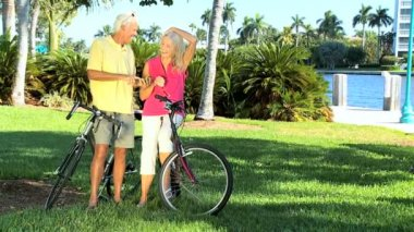 Seniors Cycling Enjoyment — Stock Video