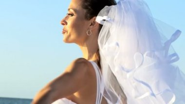 Bride with Veil in Close-up — Stock Video