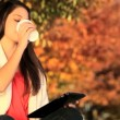 Pretty Girl With Coffee & Wireless Tablet — Stock Video #21882289