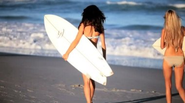 Surf Girls Healthy Lifestyle — Stock Video
