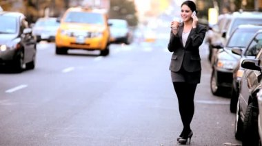 Businesswoman with Coffee & Cell Phone — Stock Video