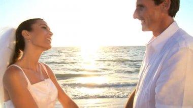 Beach Wedding Kiss — Stock Video