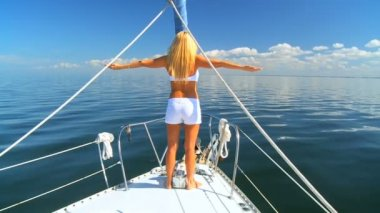 Jet Setting Blonde on Luxury Yacht — Stock Video