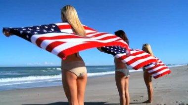 American Beach Girls — Stock Video