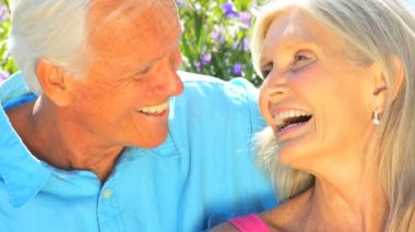 Portrait of Contented Senior Couple in Close-up — Stock Video
