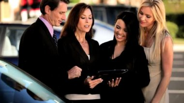 Business Team Using Wireless Tablet — Stock Video