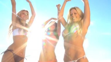 Girls Dancing on the Beach — Stock Video