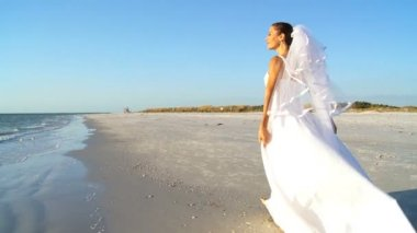 Bride in Wedding Dress on Beach — Stock Video