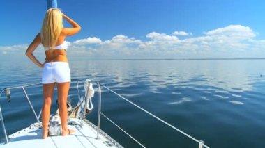 Beautiful Blonde on Luxury Yacht — Stock Video