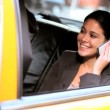 Female in Taxi with Cell Phone — Stock Video #21890553